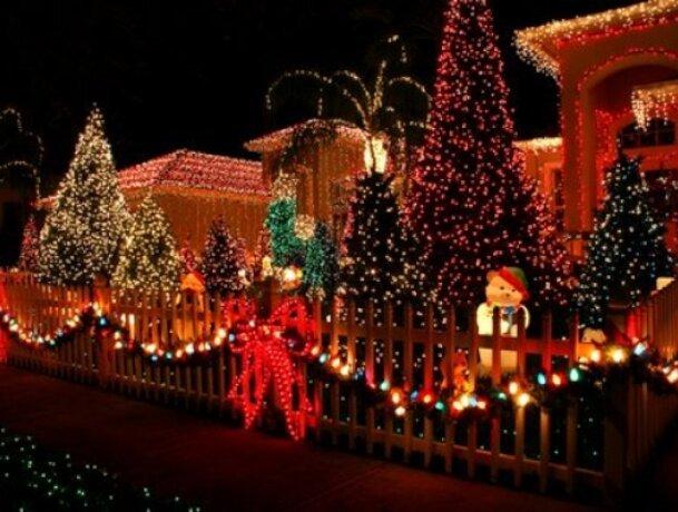 Christmas lights on property