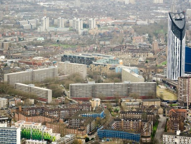 Aerial view of the developing Elephant & Castle