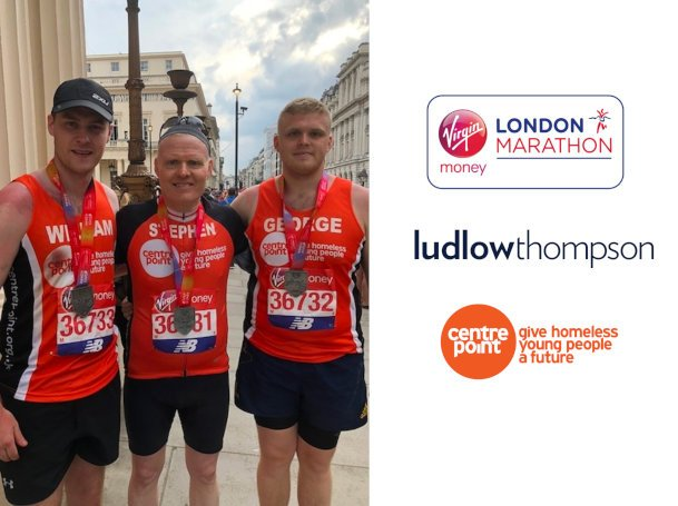 Father, son and family friend complete London Marathon for Centrepoint